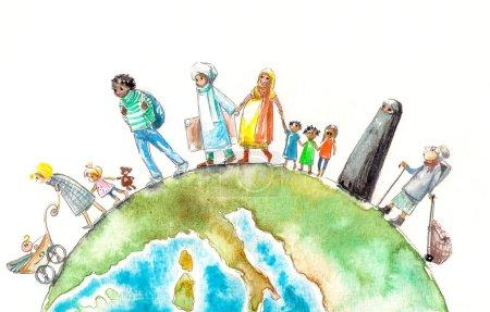 Photo pour Illustration de nationalités différentes personnes passait un Earth.Picture créé à l'aquarelle. - image libre de droit