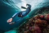 Free diver swimming underwater