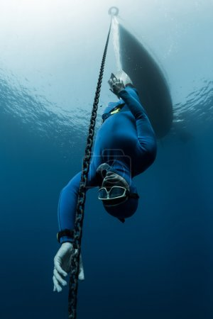 Scuba diver swims under water