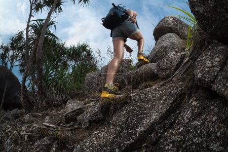 Lady hiker with backpack climbing up