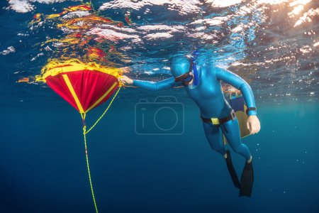 freediver training in sea