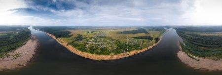 Photo pour Aerial panorama de la rivière de la Viatka, Russie - image libre de droit