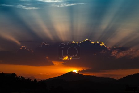 Photo for Sunrise over the mountain in shade, Tossa de Mar, Spain - Royalty Free Image