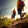Group of hikers walking in mountains...