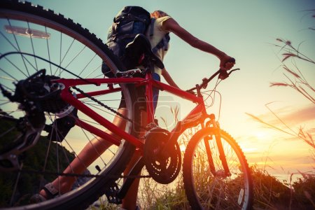 Photo for Hiker with bicycle watching sunset - Royalty Free Image
