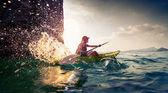 Woman with the kayak