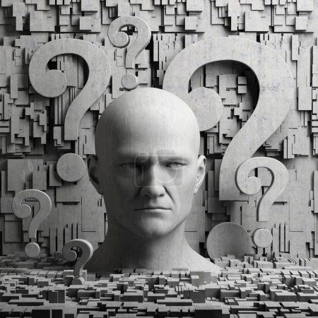 Thinking man statue and question marks