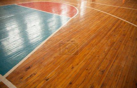 Photo pour Terrain de basket gros plan avec réflexion. Fond sportif - image libre de droit