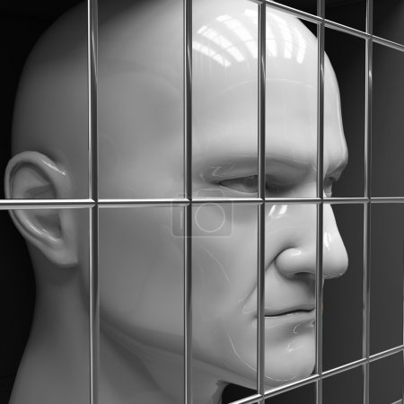 Man behind bars in jail. Restriction of freedom...