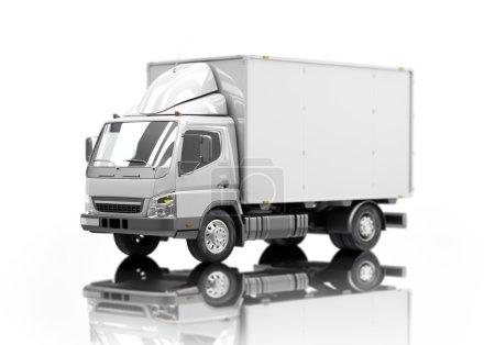 Photo pour Icône de camion de livraison de service de messagerie 3d avec des côtés vides prêts pour le texte personnalisé et les logos. Profondeur de champ faible - image libre de droit