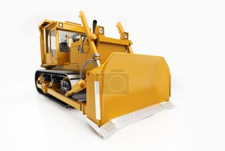 Photo pour Bulldozer lourd sur chenilles isolé sur un fond clair avec ombre - image libre de droit