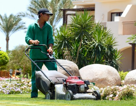 Gardener with lawn mower