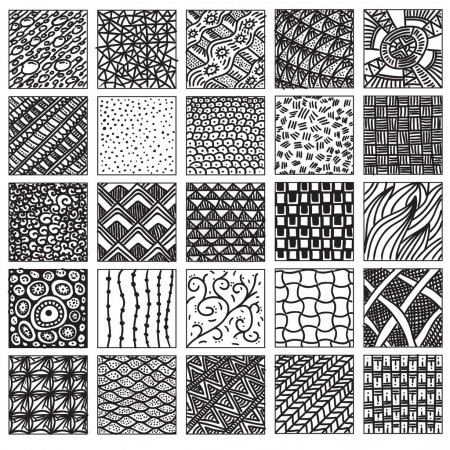 Doodle pattern set. Hand drawing, relaxed style. D...