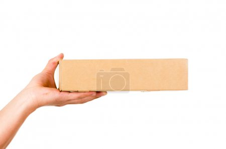 hand of delivery man carrying box