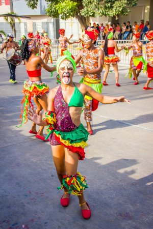 Performers with colorful and elaborate costumes participate in Colombias most important folklore celebration, the Carnival of Barranquilla, Colombia