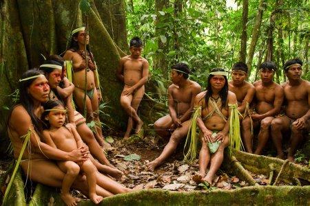 Huaorani tribe in the amazon rainforest, Yasuni National Park, Ecuador