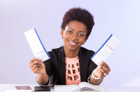 Black office woman working
