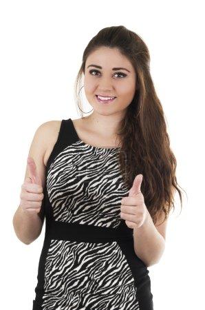 Beautiful young girl wearing black dress posing