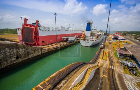 Gatun Locks, Panama Canal. This is the first set of locks situated on the Atlantic entrance of the Panama Canal.
