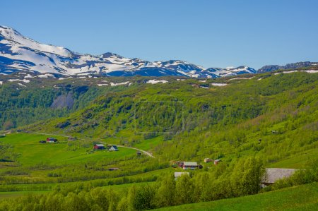 VALDRES, NORWAY - 6 JULY, 2015: Stunning nature on Valdresflya, green covered landscape stretches far as eye can see with spots of snow and lakes under beautiful blue sky