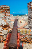 Castillo San Felipe Barajas, impressive fortress located in Lazaro hill, Cartagena de Indias, Colombia