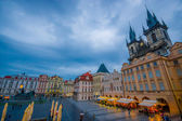 Prague, Czech Republic - 13 August, 2015: Great overview of beautiful old town square sorrounded by spectacular architecture buildings