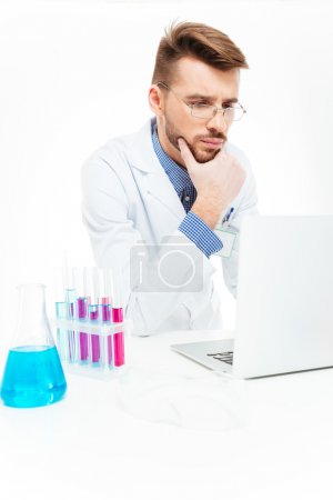Photo for Scientist using laptop computer in laboratory - Royalty Free Image