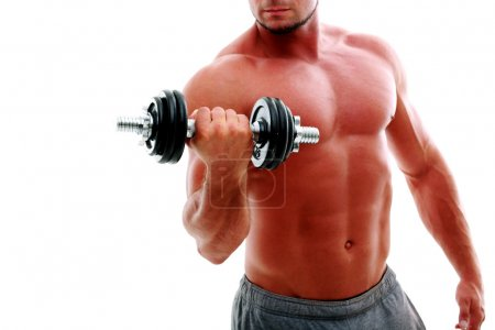 Photo for Closeup portrait of the man's body with dumbbell - Royalty Free Image
