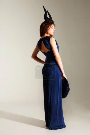 Fashion woman on gray background
