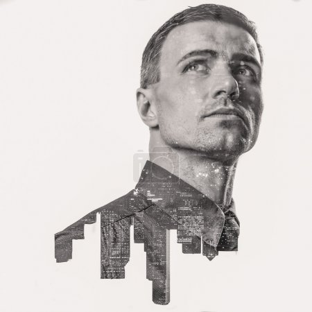 Double exposure of a city and professional businessman