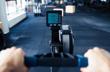Closeup image of simulator at gym