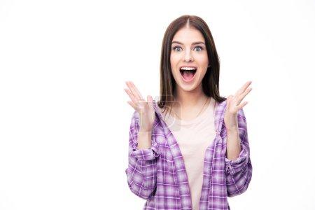 Photo pour Surpris jeune étudiante sur fond blanc. Regardant la caméra . - image libre de droit