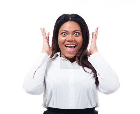 Photo for Portrait of surprised african businesswoman isolated on a white background. Looking at camera - Royalty Free Image