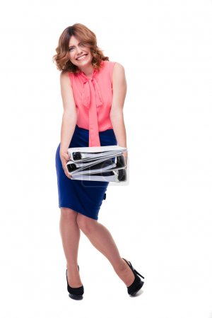 Tired businesswoman standing with folders