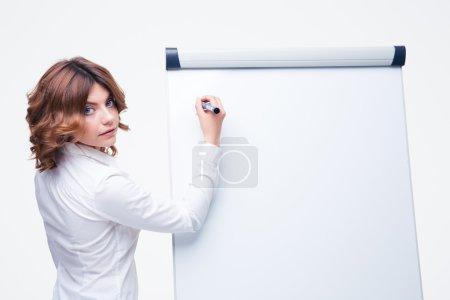Businesswoman presenting strategy on flipchart