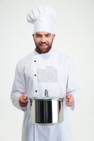 Photo for Portrait of a male chef cook holding pan isolated on a white background - Royalty Free Image