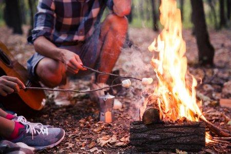 Photo pour Closeup portrait de quelques frites saucisses sur le feu dans la forêt - image libre de droit