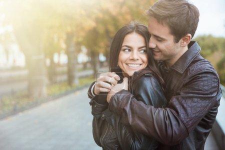 Couple flirting outoors