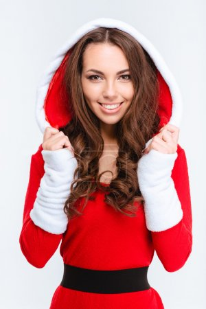 Attractive content girl in red santa claus costume with hood