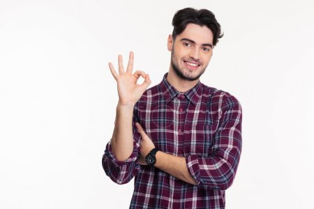Portrait of a smiling man showing ok sign