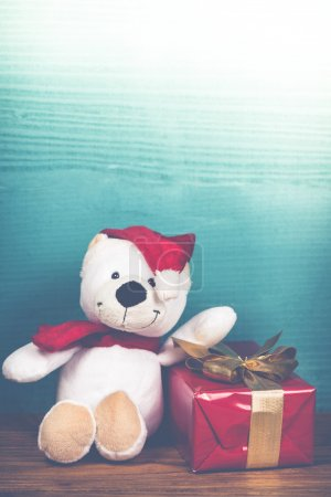 Christmas teddy bear in vintage style