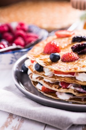 Photo for Shrove Tuesday, pancake day, with berry fruits - Royalty Free Image