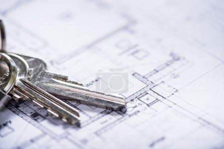 key for new house on architect drawings