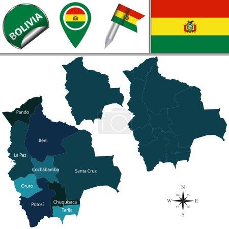 Illustration pour Carte vectorielle de la Bolivie avec les divisions nommées et les icônes de voyage - image libre de droit