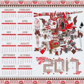 Vector calendar 2017 in aztec style with ansient gods