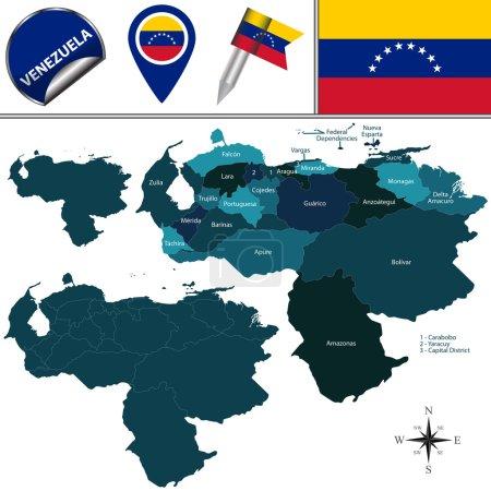 Illustration pour Carte vectorielle du Venezuela avec les états nommés et les icônes de voyage - image libre de droit