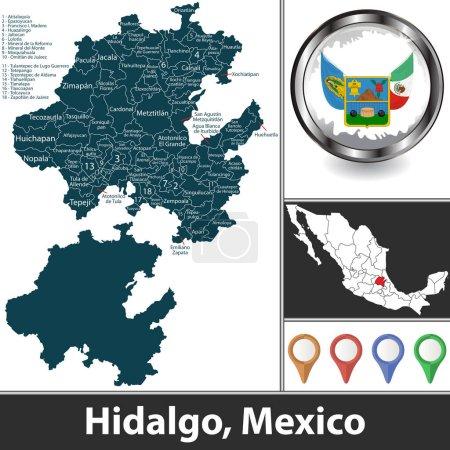 Illustration pour État de Hidalgo avec les municipalités et l'emplacement sur la carte mexicaine. Image vectorielle - image libre de droit