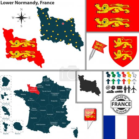 Map of Lower Normandy, France
