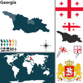 Vector map of Georgia with regions coat of arms and location on world map