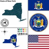 Map of state New York USA